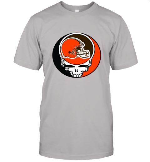 kdsp nfl team cleveland browns x grateful dead logo band jersey t shirt 60 front ash