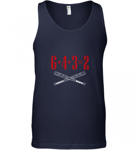 i4ja funny baseball math 6 plus 4 plus 3 equals 2 double play unisex tank 17 front navy