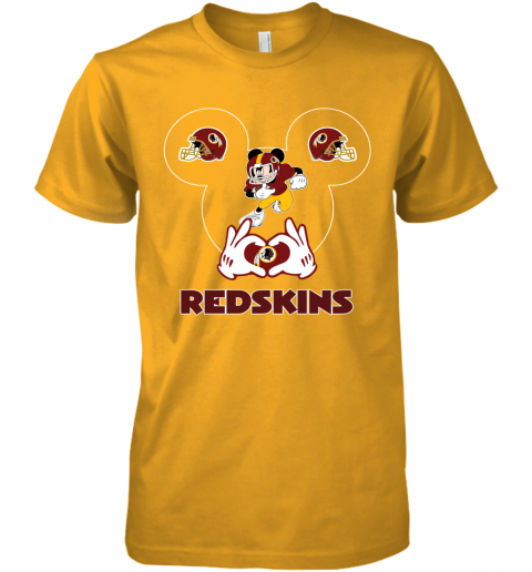 hkdl i love the redskins mickey mouse washington redskins premium guys tee 5 front gold