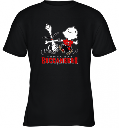 Snoopy And Charlie Brown Happy Tampa Bay Buccaneer Youth T-Shirt