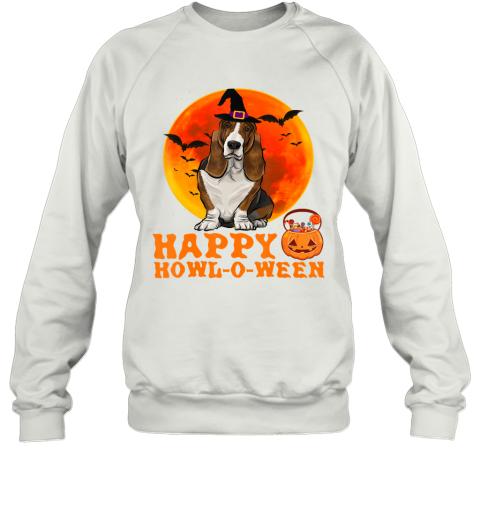 Funny Basset Hound Dog Halloween Happy Howl-o-ween Sweatshirt