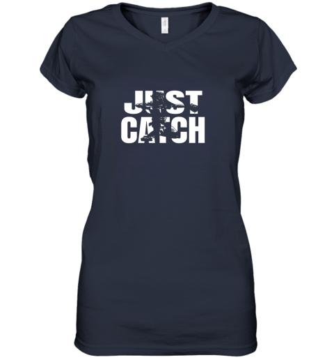 cppe just catch baseball catchers long sleeve shirt baseballisms women v neck t shirt 39 front navy