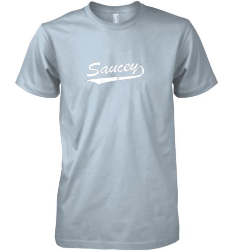ui92 saucey swag baseball premium guys tee 5 front light blue