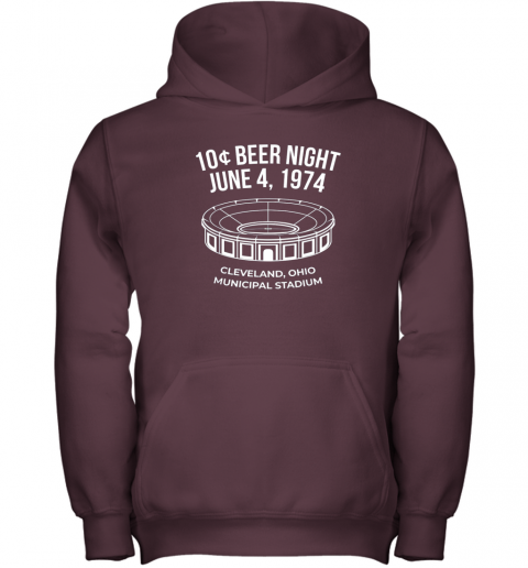 mv9c cleveland baseball shirt retro 10 cent beer night youth hoodie 43 front maroon