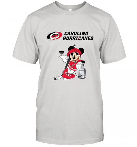 Mickey Carolina Hurricanes With The Stanley Cup Hockey NHL Unisex Jersey Tee