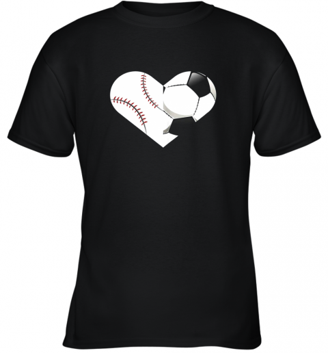 Soccer Baseball Heart Sports Tee, Baseball, Soccer Youth T-Shirt
