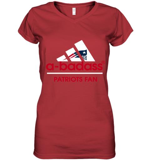 wumj a badass new england patriots mashup adidas nfl shirts women v neck t shirt 39 front red