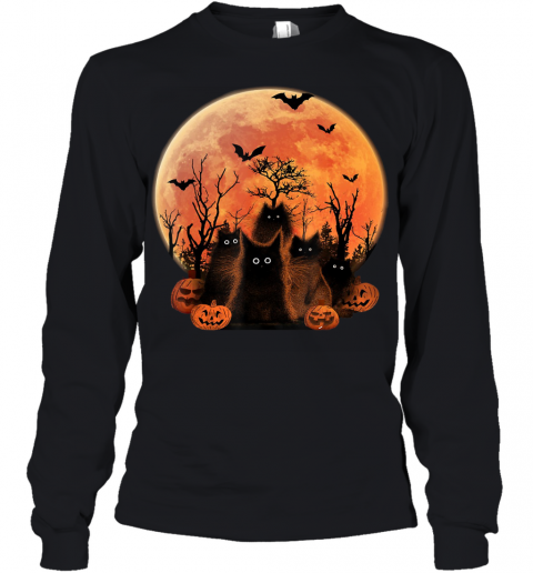 Scary Halloween Black Cats and Moon bats pumpkins Costume Youth Long Sleeve