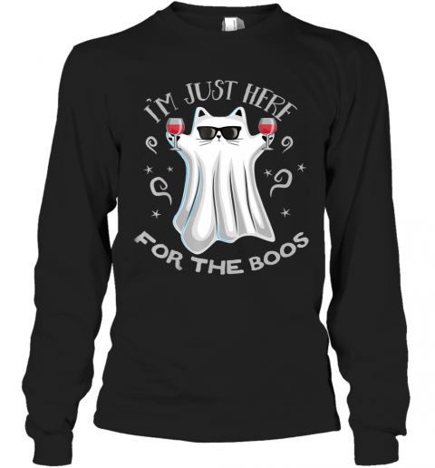 I'm Just Here for the Boos Funny Halloween Cat Ghost Long Sleeve T-Shirt