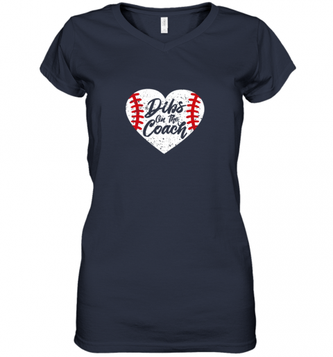 11ll dibs on the coach funny baseball women v neck t shirt 39 front navy