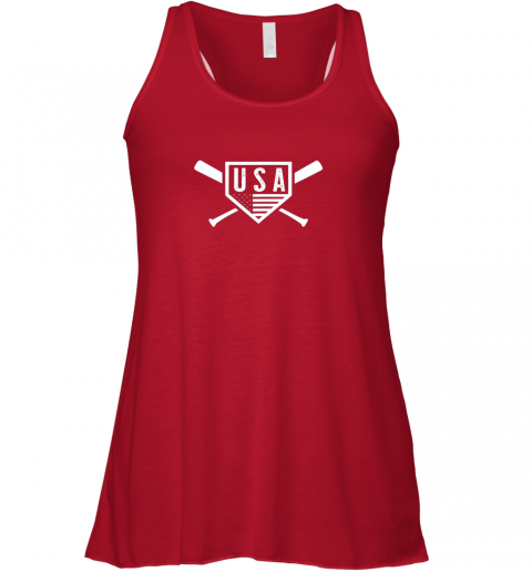 2qg3 vintage american baseball and softball usa flag flowy tank 32 front red