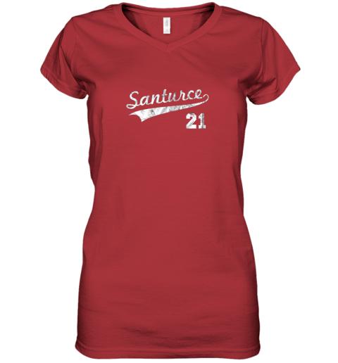 cqet vintage distressed santurce 21 puerto rico baseball women v neck t shirt 39 front red