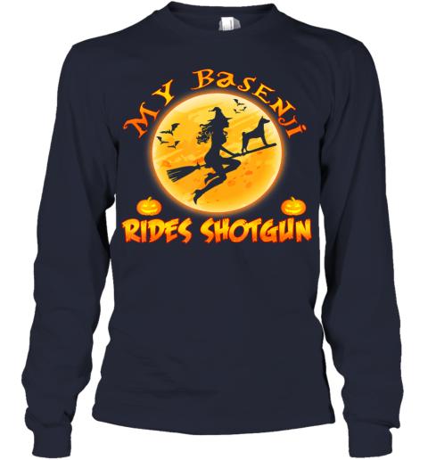 My Basenji Dog Rides Shotgun Shirt Halloween Costume Dog Youth Long Sleeve