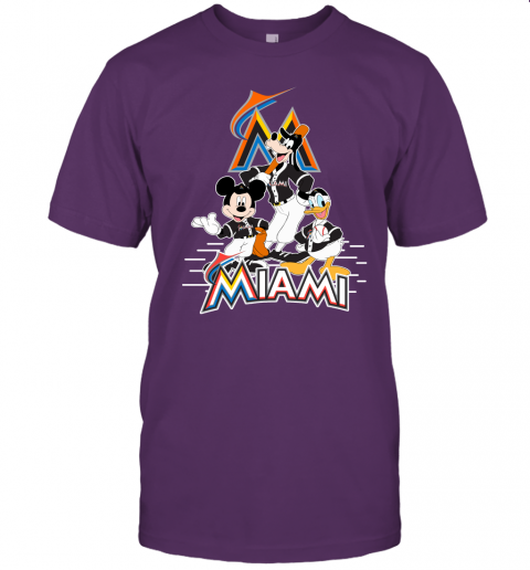 7ppd miami marlins mickey donald and goofy baseball jersey t shirt 60 front team purple