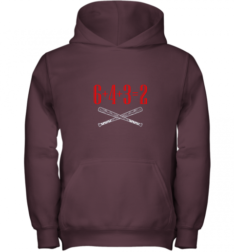 h5xm funny baseball math 6 plus 4 plus 3 equals 2 double play youth hoodie 43 front maroon