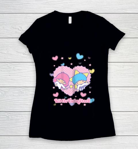 Little Twin Stars Retro Logo Valentine Women's V-Neck T-Shirt