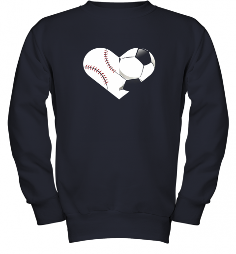 mvfz soccer baseball heart sports tee baseball soccer youth sweatshirt 47 front navy