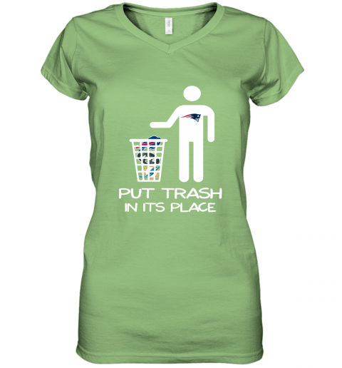 New England Patriots Put Trash In Its Place Funny NFL Women's V-Neck T-Shirt