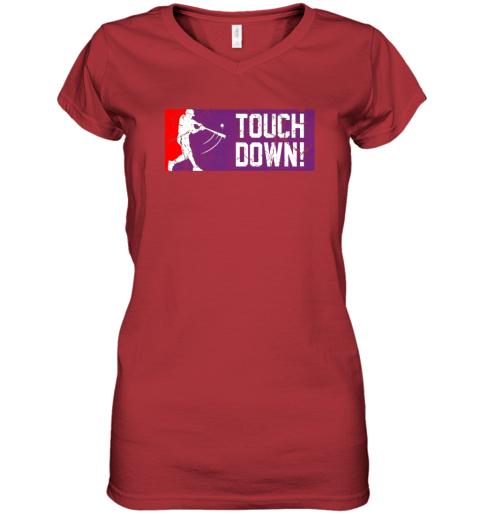 nuyd touchdown baseball funny family gift base ball women v neck t shirt 39 front red