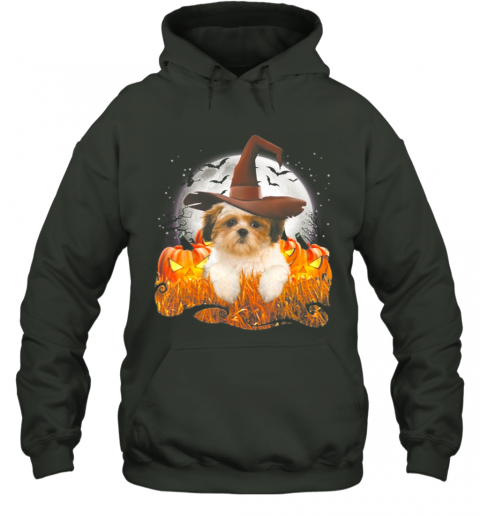 Lhasa apso Halloween, Cute dog witch on Halloween pumpkin Hoodie