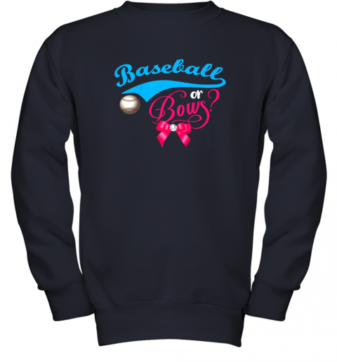luzl cute baseball or bows gender reveal party youth sweatshirt 47 front navy