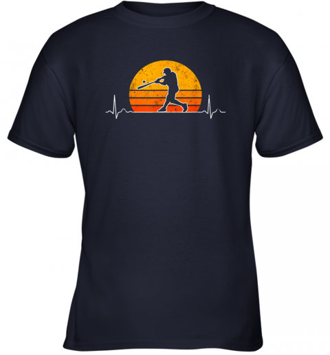 tozo vintage baseball heartbeat retro sunset swinging batter gift youth t shirt 26 front navy