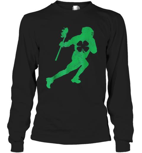 Pretty St. Patrick'S Day Green Shamrock Lacrosse Irish Men Boys Long Sleeve T-Shirt