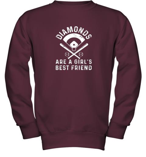 wnhk diamonds are a girl39 s best friend baseball youth sweatshirt 47 front maroon