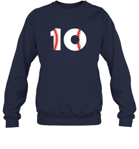 op0n tenth birthday 10th baseball shirtnumber 10 born in 2009 sweatshirt 35 front navy