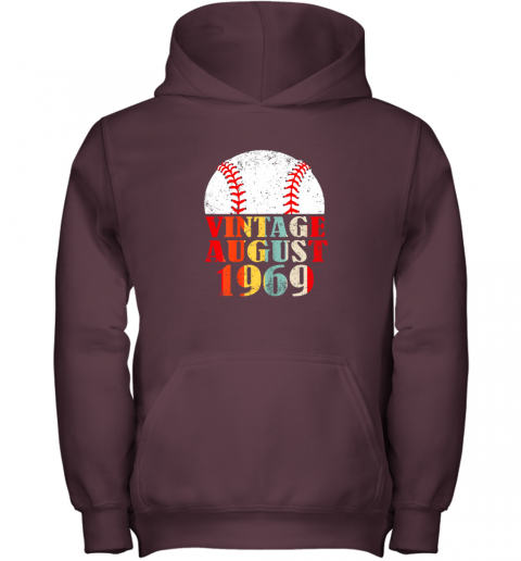 kvq0 born august 1969 baseball shirt 50th birthday gifts youth hoodie 43 front maroon