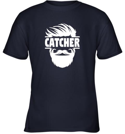 jc4s bearded baseball catcher youth t shirt 26 front navy