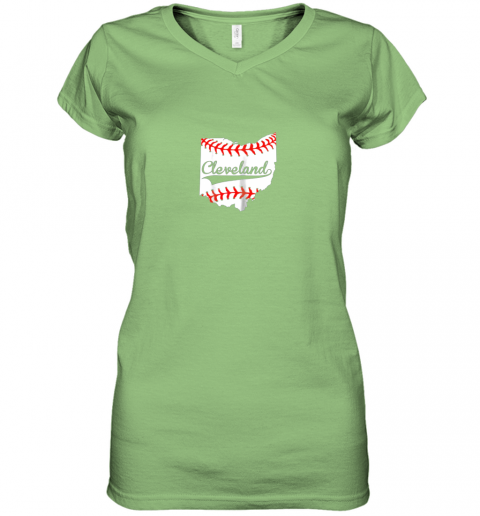 tnkz cleveland ohio 216 baseball women v neck t shirt 39 front lime