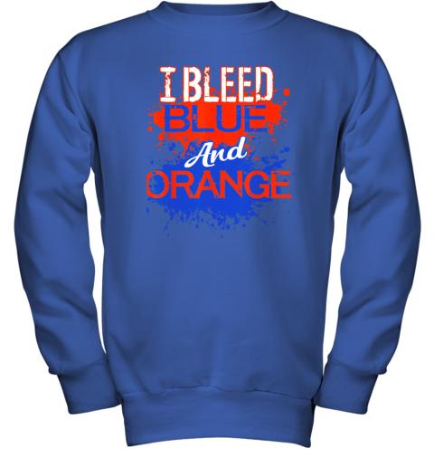 ixtd i bleed blue and orange fan shirt football soccer baseball youth sweatshirt 47 front royal