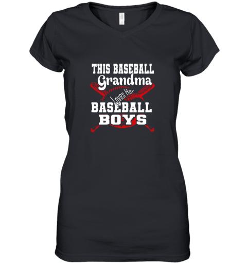 This Baseball Grandma Loves Her Baseball Boys Women's V-Neck T-Shirt