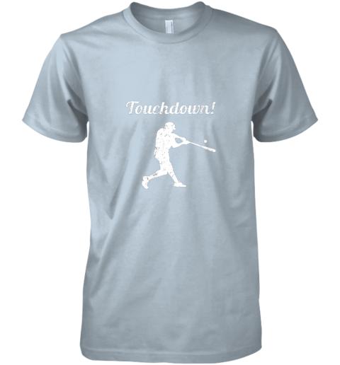 unzl touchdown funny baseball premium guys tee 5 front light blue