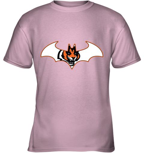ls45 we are the cincinnati bengals batman nfl mashup youth t shirt 26 front light pink