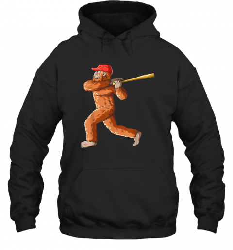 Bigfoot Baseball Sasquatch Playing Baseball Player Hoodie