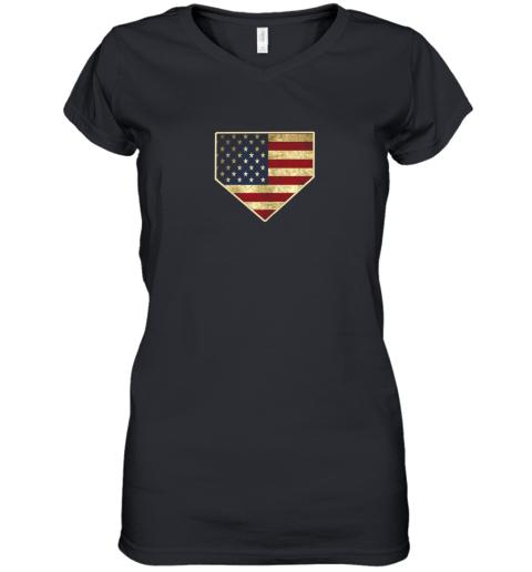 Vintage American Flag Baseball Shirt Home Plate Art Gift Women's V-Neck T-Shirt