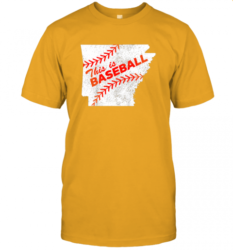 ks3o this is baseball arkansas with red laces jersey t shirt 60 front gold