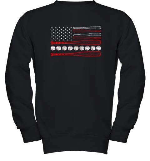 Vintage American Flag Baseball 4th July Youth Sweatshirt