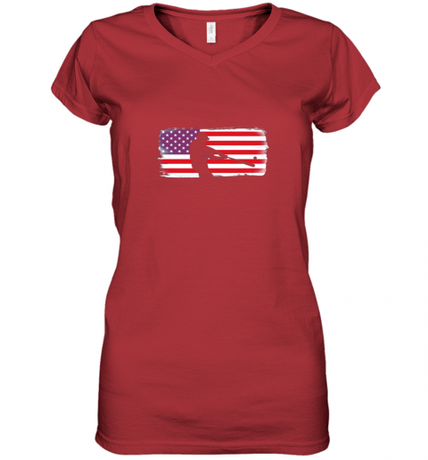 ysvs usa american flag baseball player perfect gift women v neck t shirt 39 front red