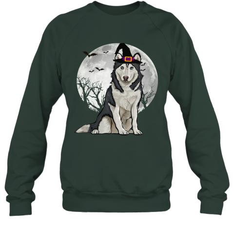 Scary Siberian Husky Dog Witch Hat Halloween Sweatshirt