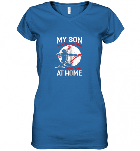 hnek my son will be waiting for you at home baseball dad mom women v neck t shirt 39 front royal