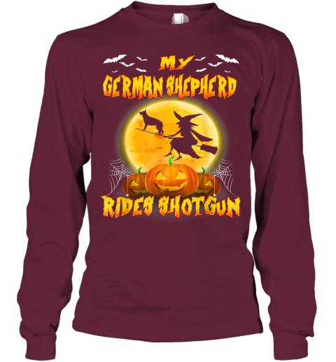 My German Shepherd Rides Shotgun Halloween Gift For Dog Love Youth Long Sleeve