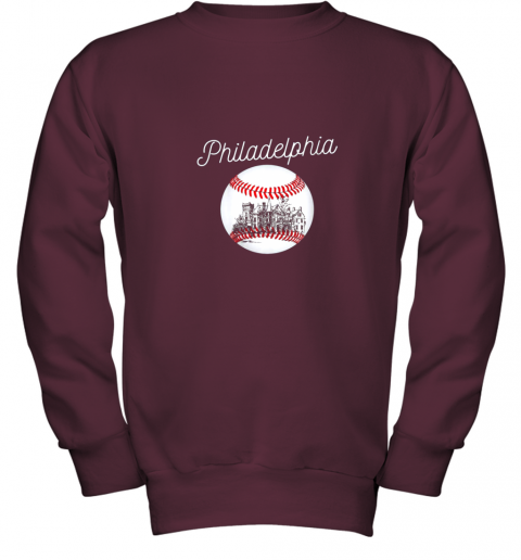1ghk philadelphia baseball philly tshirt ball and skyline design youth sweatshirt 47 front maroon