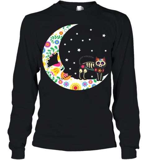 Sugar Skeleton Cat and Moon Dia de Los Muertos Halloween Youth Long Sleeve