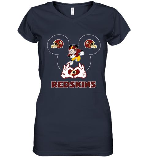 63cr i love the redskins mickey mouse washington redskins women v neck t shirt 39 front navy