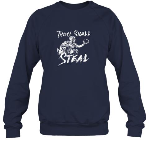 l0bp thou shall not steal baseball catcher sweatshirt 35 front navy