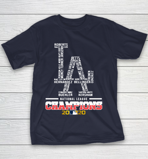 Los Angeles Dodgers Logo National League Champions 2020 Youth T-Shirt 2