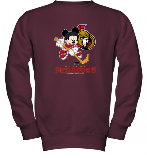 0qus nhl hockey mickey mouse team ottawa senators youth sweatshirt 47 front maroon